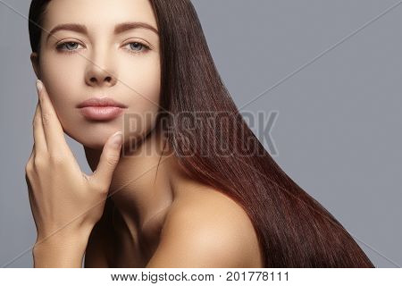 Fashion Long Hair. Beautiful Brunette Girl,. Healthy Straight Shiny Hair Style. Beauty Woman Model.
