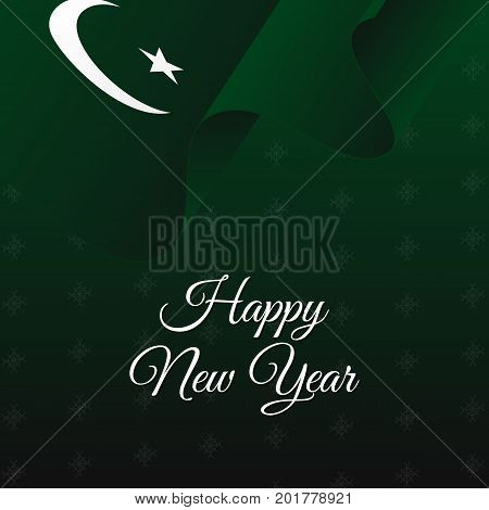 Happy New Year banner. Pakistan waving flag. Snowflakes background. Vector illustration.
