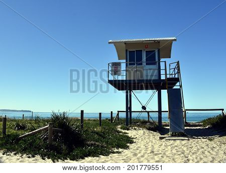 Blacksmiths Australia - Aug 13 2017. Surf Life Saving Lookout Tower at Blacksmiths beach. It is a patrolled beach at the southern end of a sandy nine mile stretch of coastline.