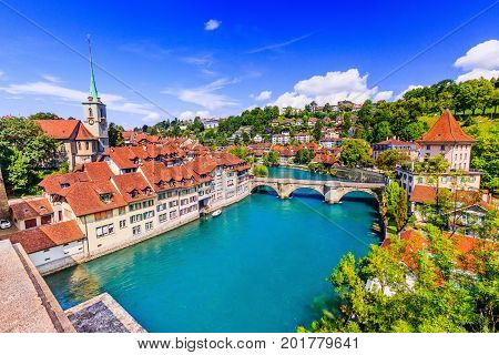 Bern Switzerland. View of the old city center and Untertorbrucke bridge over river Aare.