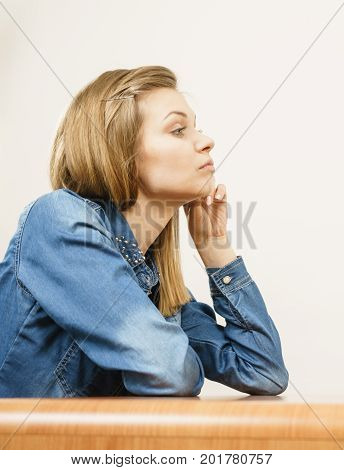 Woman being uncertainty skeptical questioning something and gesturing having disgusted face expression.