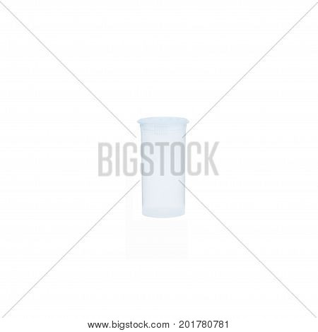 Prescription medication container in opaque clear over a pure r255 g255 b255 white background.