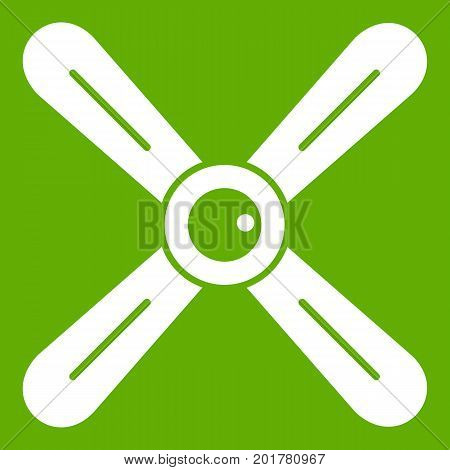Propeller icon white isolated on green background. Vector illustration