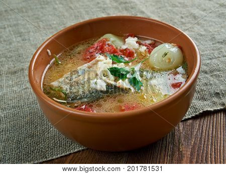 scherba - Russian Cossack fish soup  close up   homemade  healthy, meal