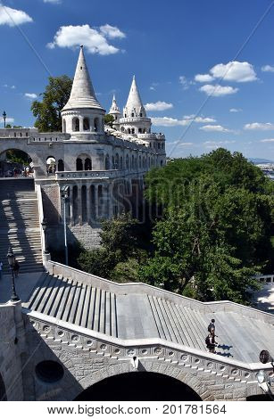 Fisherman's Bastion is a terrace in neo-Gothic and neo-Romanesque style situated on the Buda bank of the Danube in Budapest Hungary.
