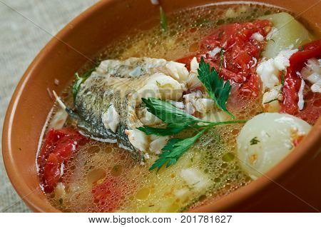 scherba - Russian Cossack fish soup close up meal