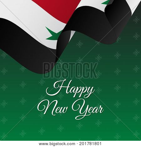 Happy New Year banner. Syria waving flag. Snowflakes background. Vector illustration.