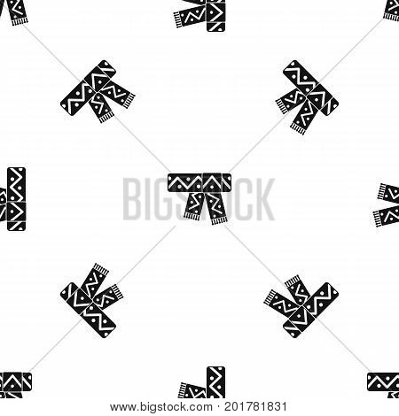 Knitted scarf with pattern pattern repeat seamless in black color for any design. Vector geometric illustration