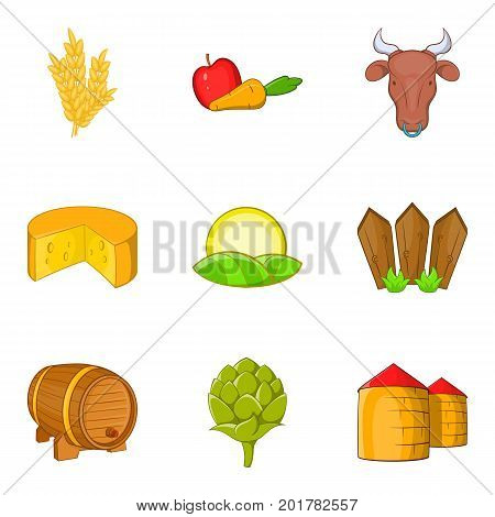 Rural economy icons set. Cartoon set of 9 rural economy vector icons for web isolated on white background