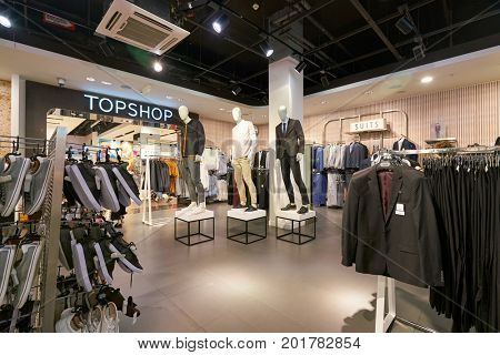 SAINT PETERSBURG, RUSSIA - CIRCA AUGUST, 2017: inside Topman store at Galeria shopping center. Galeria is major shopping and entertainment center is located in downtown of St. Petersburg