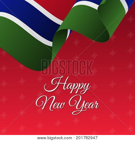 Happy New Year banner. Gambia waving flag. Snowflakes background. Vector illustration.