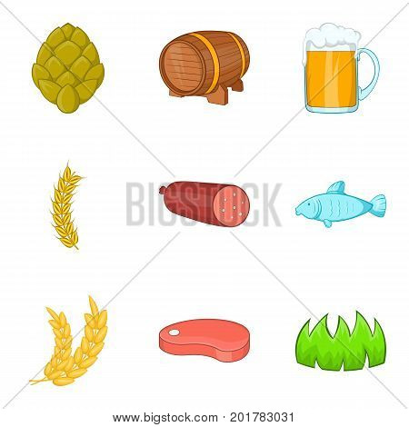 Arable farming icons set. Cartoon set of 9 arable farming vector icons for web isolated on white background