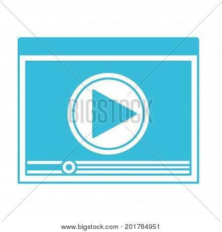 blue color silhouette of window with start playback icon vector illustration