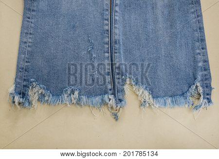 Set of blue leg jeans texture