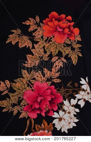 Sundress clothes texture - flowers. fabric surface textures with hangbag