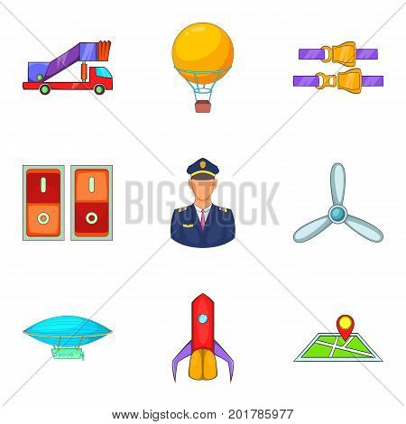Piloting icons set. Cartoon set of 9 piloting vector icons for web isolated on white background