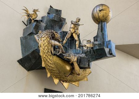 Paris France - August 13 2016: Le Defenseur du Temps (The Defender of Time) is a large mechanical work of art in the form of a clock created by the French artist Jacques Monestier