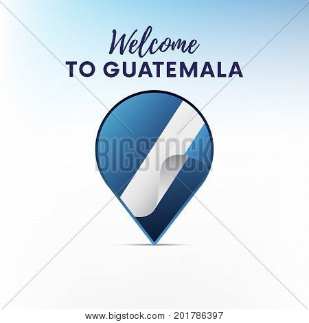 Flag of Guatemala in shape of map pointer or marker. Welcome to Guatemala. Vector illustration.
