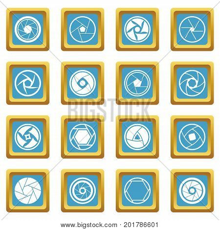 Photo diaphragm set. Simple illustration of 16 photo diaphragm vector icons set in azur color isolated vector illustration for web and any design