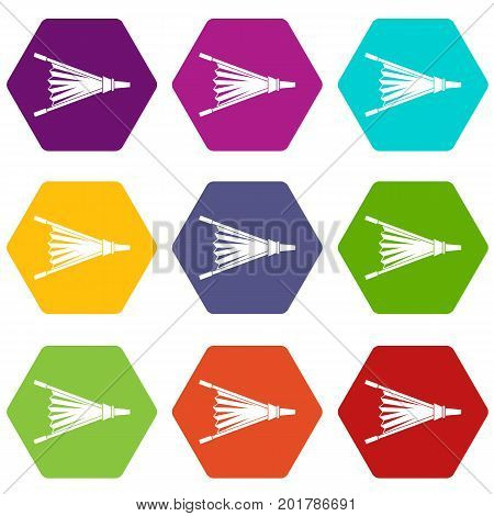 Fire bellows icon set many color hexahedron isolated on white vector illustration