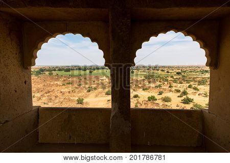 From inside the building open windows amazing view of Thar Desert located close to Jaisalmer the Golden City in India.