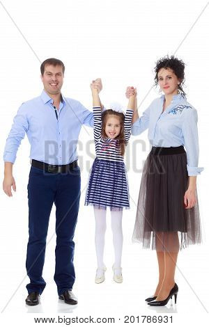 Happy young family, mom dad and little daughter.Parents raise the girl's hands.Isolated on white background.