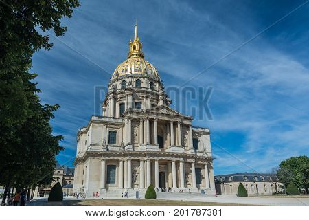 Paris France - August 14 2016: The Dome des Invalides a large church with the burial site for some of France's war heroes most notably Napoleon Bonaparte.