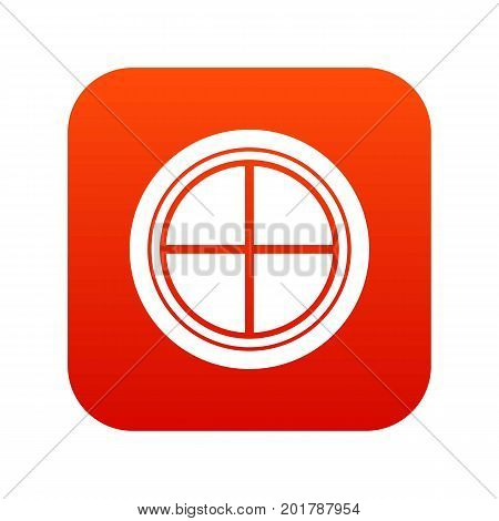 White round window icon digital red for any design isolated on white vector illustration