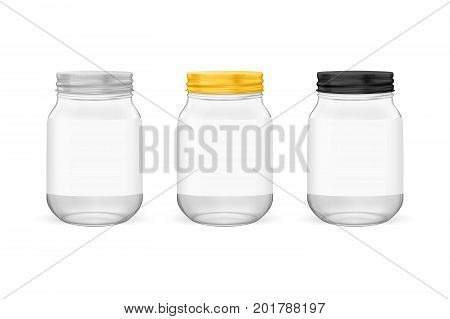 Vector realistic empty glass jar for canning and preserving set with silvery, golden and black lids closeup isolated on white background. Design templates for advertise, branding, mockup. EPS10 illustration.