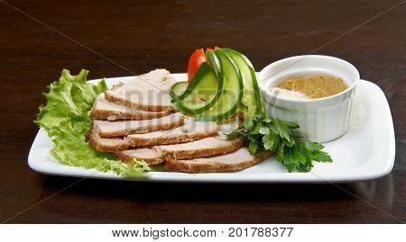 Slow smoked pork sirloin close up meal