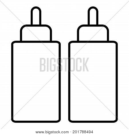 Ketchup mustard squeeze bottle icon. Outline illustration of ketchup mustard squeeze bottle vector icon for web