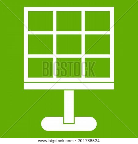 Solar battery icon white isolated on green background. Vector illustration