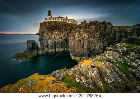 Lighthouse on Neist Point cliffs Isle of Skye Scotland