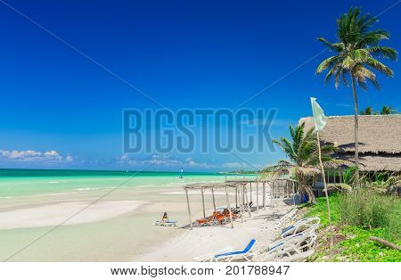 Cayo Coco island, Cuba, Trip Cayo Coco hotel, July 11, 2017, amazing beautiful inviting view of tropical beach and turquoise tranquil with people relaxing and enjoying their time on sunny nice day