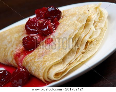Pancakes With Sweet Cherry Confiture