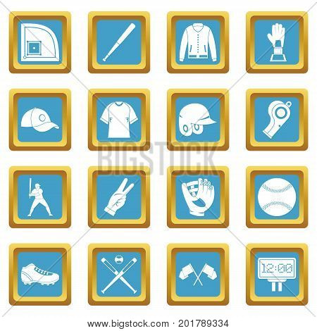Baseball icons set in azur color isolated vector illustration for web and any design