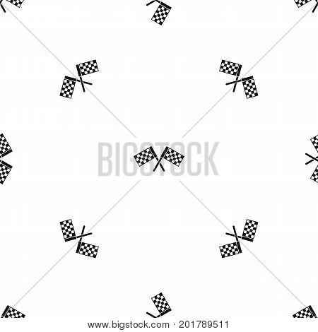 Crossed chequered flags pattern repeat seamless in black color for any design. Vector geometric illustration