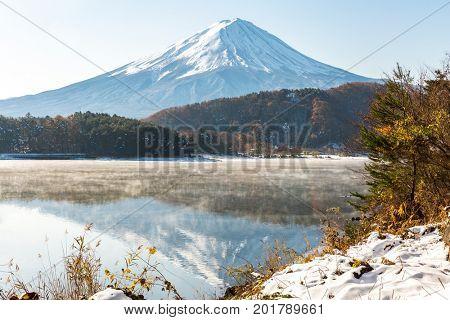 Mt. Fuji wit snow in late autumn at Kawaguchiko or lake Kawaguchi in Fujikawaguchiko Japan