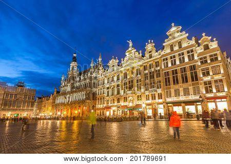 Grand Place in Brussels Belgium suset twilight.