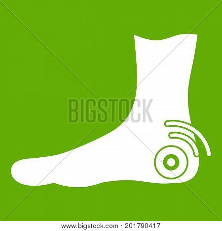Foot heel icon white isolated on green background. Vector illustration
