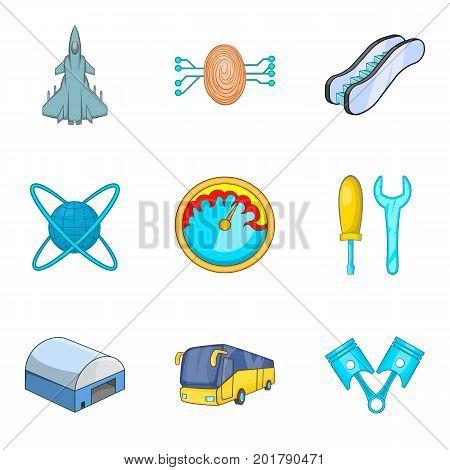Flight technology icons set. Cartoon set of 9 flight technology vector icons for web isolated on white background