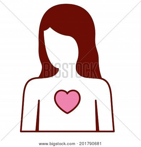 pink and scarlet red sections silhouette of faceless female half body and and heart in chest vector illustration