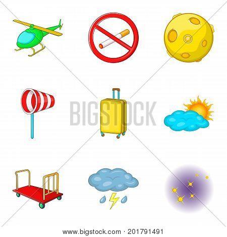 Aisle icons set. Cartoon set of 9 aisle vector icons for web isolated on white background