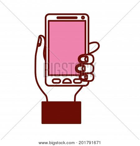 pink and scarlet red sections silhouette of hand holding smartphone vector illustration