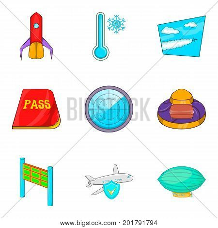 Passageway icons set. Cartoon set of 9 passageway vector icons for web isolated on white background