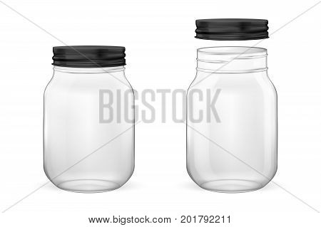 Vector realistic empty glass jar for canning and preserving set with black lid - open and closed - closeup isolated on white background. Design template for advertise, branding, mockup. EPS10 illustration.
