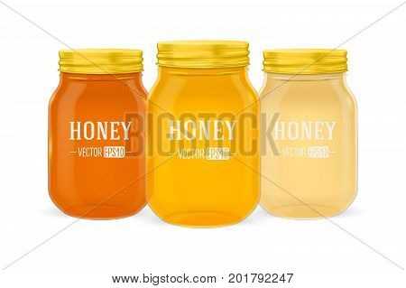 Vector realistic glass jar of honey set with golden lid closeup isolated on white background. Design template for advertise, branding, mockup. EPS10 illustration.