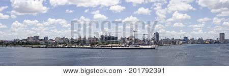 Havana, Cuba shoreline panorama with a cloudy sky