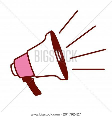 pink and scarlet red sections silhouette of megaphone icon vector illustration