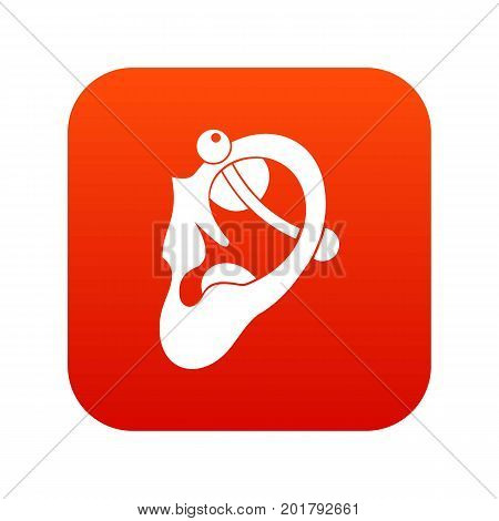 Human ear with piercing icon digital red for any design isolated on white vector illustration